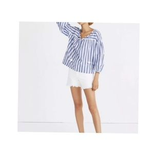 Madewell peasant shea stripe top XS